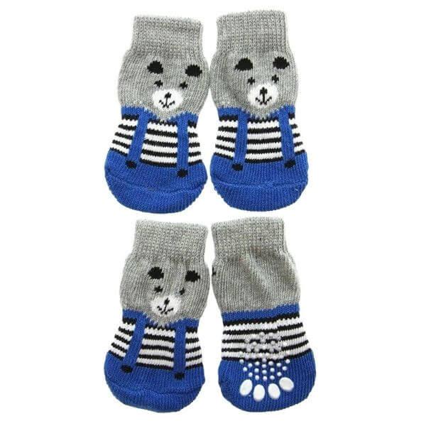 Skarpetki bawełniane dla psa miś niebieskie