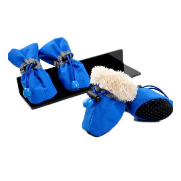 Antypoślizgowe buty dla psa niebieskie ze ściągaczami ocieplane Happy Feet