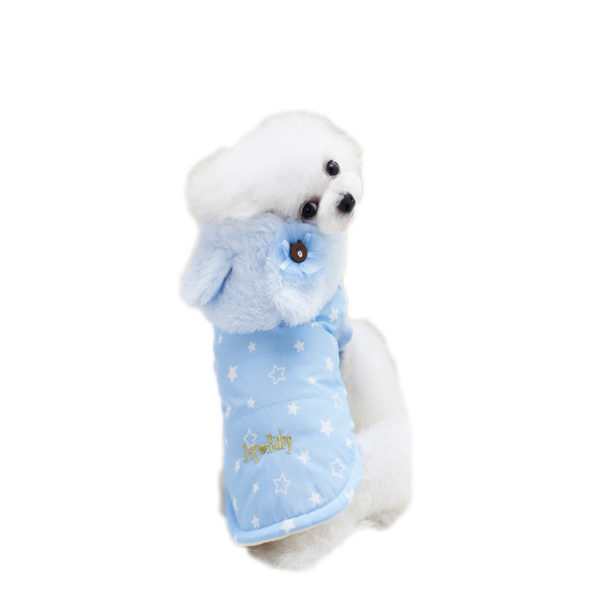 Kurtka dla psa niebieska w gwiazdki z pluszowym kapturem na napy