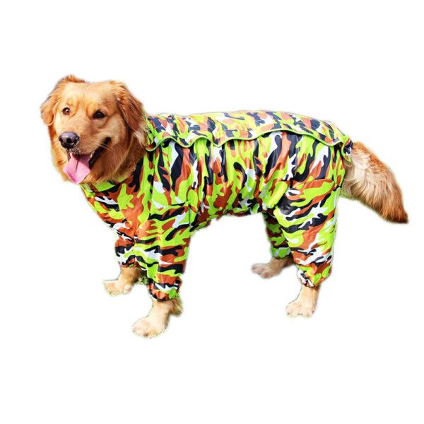 Przeciwdeszczowy płaszcz dla dużego psa moro zielone na napy