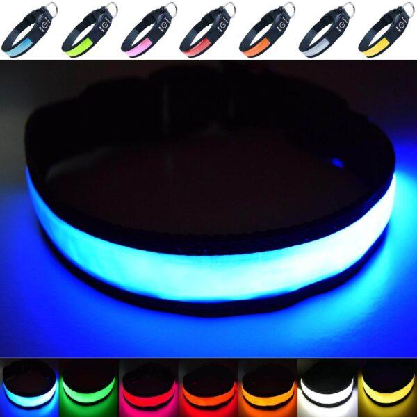 Obroża świecąca LED dla psa niebieska