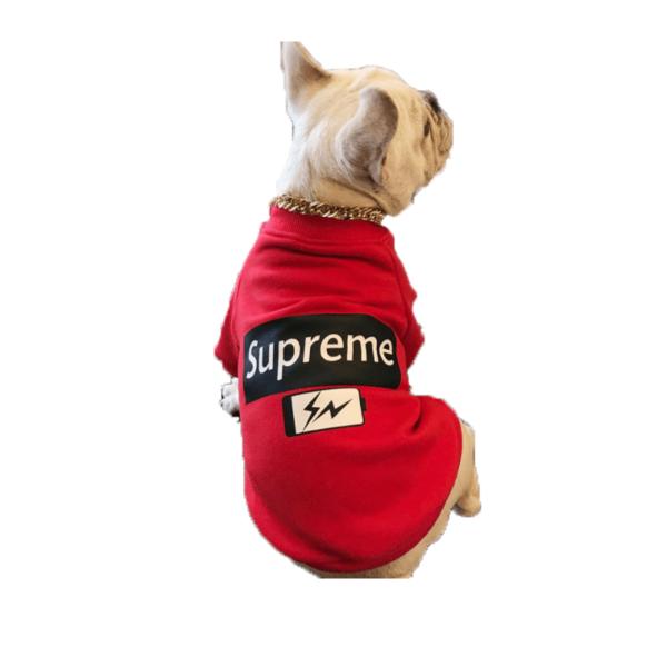 Czerwona Bluza Dla Psa Supreme Battery Buldog Francuski miniatura