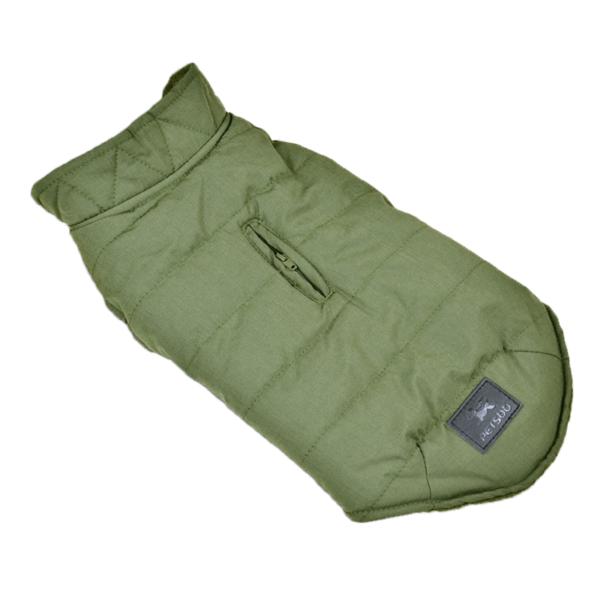 Miniaturka kurtka zimowa ocieplana dla psa zielona oliwkowa z otworem na smycz zapinana na napy