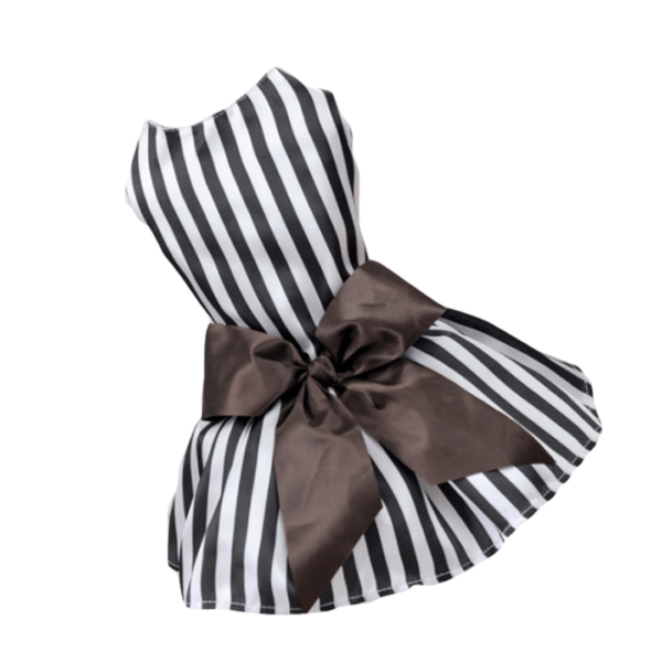Miniaturka eleganckiej sukienki w czarno-białe paski dla suczki
