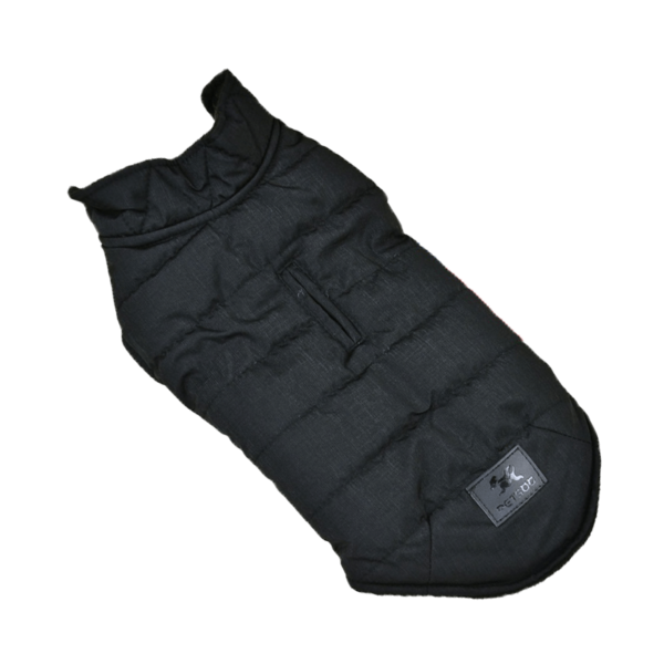 Miniaturka kurtka zimowa ocieplana dla psa czarna z otworem na smycz zapinana na napy