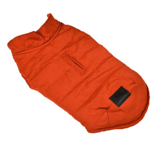 Miniaturka kurtka zimowa ocieplana dla psa pomarańczowa z otworem na smycz zapinana na napy
