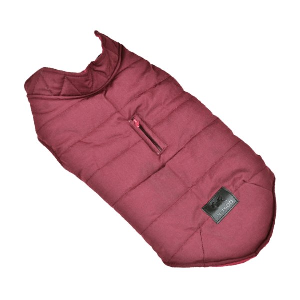 Miniaturka kurtka zimowa ocieplana dla psa bordowa z otworem na smycz zapinana na napy