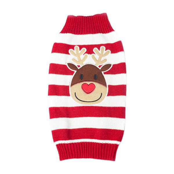Świąteczny sweterek dla psa kota biało-czerwone paski reniferek