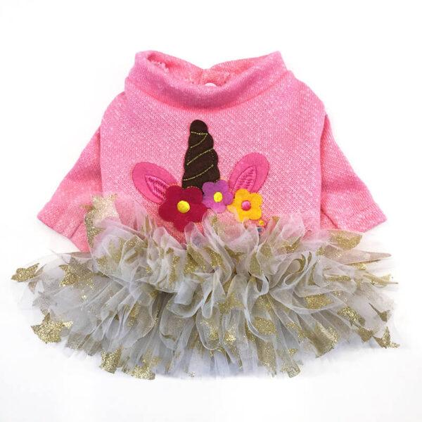 Urocza Sukienka Dla Psa z Falbanka Jednorożec różowa miniaturka