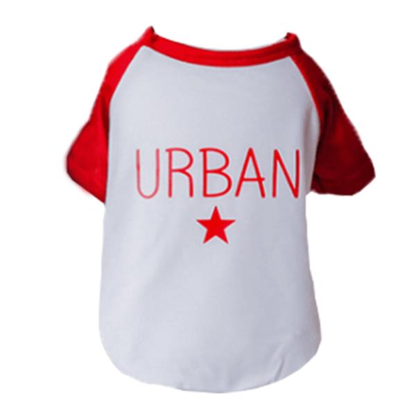 przewiewna, bawełniana koszulka dla psa, rozciągliwy materiał, modny wzór streetwear urban, kolor czerwony
