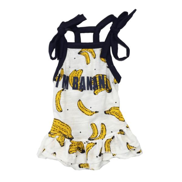 bawełniana przewiewna sukienka dla psa na ramiączka wzór banan miniatura