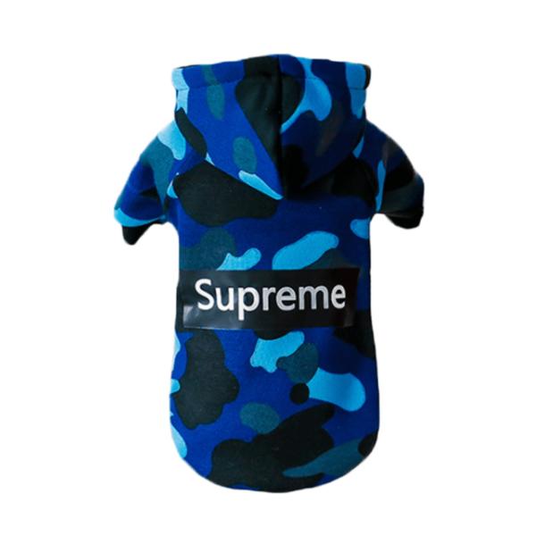 bluza dresowa dla psa supreme moro niebieska streetwear tył miniaturka