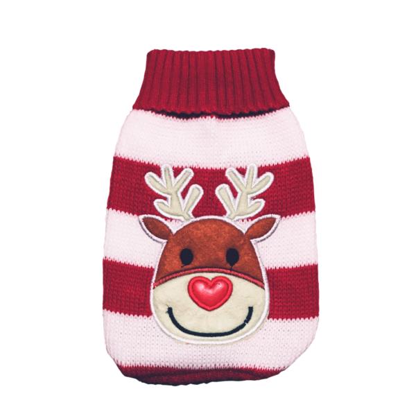 Elastyczny sweter świąteczny dla psa wzór renifer w paski przód
