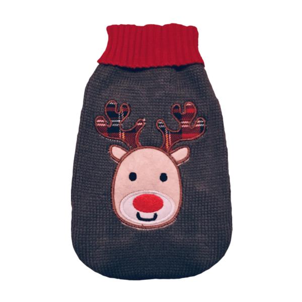Elastyczny sweter dla psa wzór renifer przód