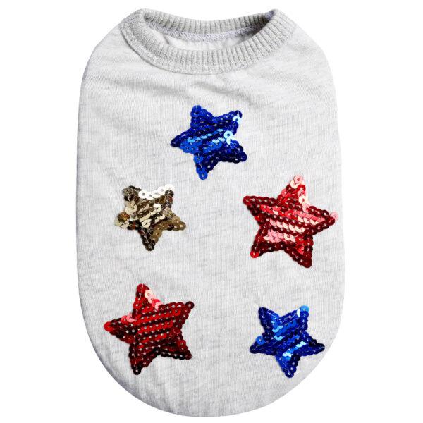 Koszulka dla psa szara w cekinowe gwiazdki tył