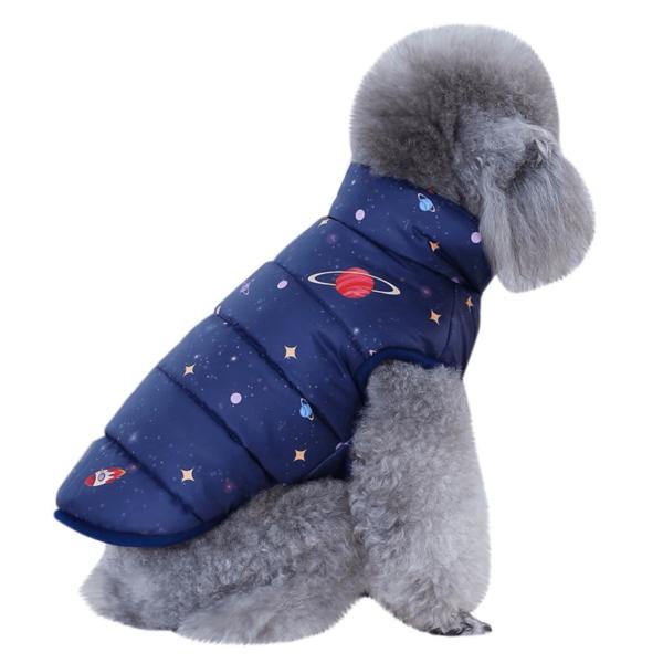 ociepla, puchowa kurtka dla psa, kosmiczny wzór, kolor granatowy