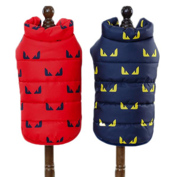 Ocieplana, pikowana kurtka dla psa, wewnątrz polarek, wzór oczka, kolor czerwony i granatowy