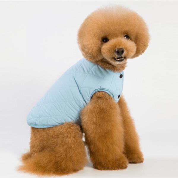 Ocieplana, pikowana kurtka dla psa, wykończona wewnątrz futerkiem, posiada rozcięcie na szelki, kolor błękitny
