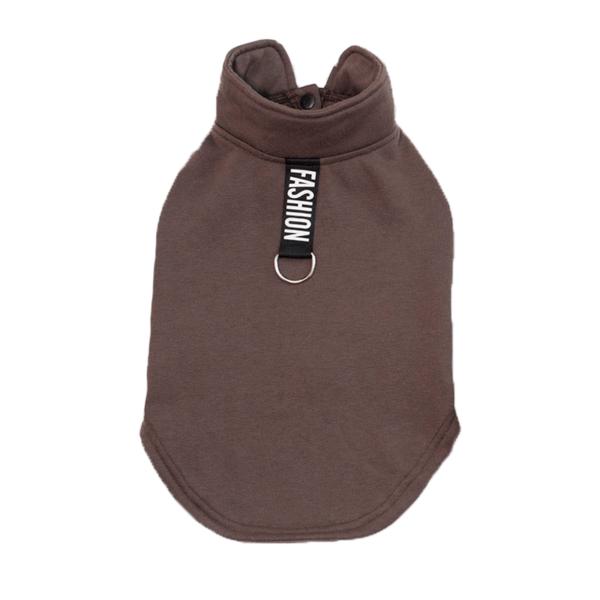 Ciepła bluza dla psa zapinana na napy ze sprzączka na smycz, fashion, kolor brązowy