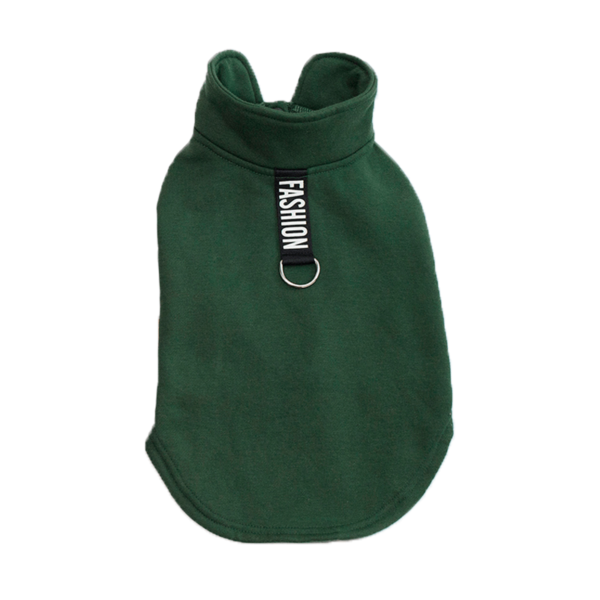 Ciepła bluza dla psa zapinana na napy ze sprzączka na smycz, fashion, kolor zielony