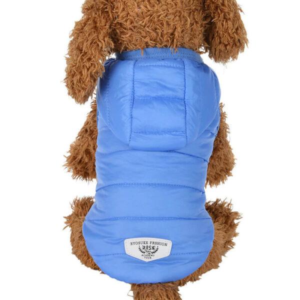 Puchowa kurtka dla psa ocieplana, zapinana na napy, kaptur, kolor niebieski