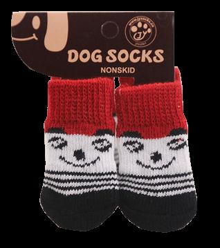 Skarpetki bawełniane dla psa czerwone z uśmiechem