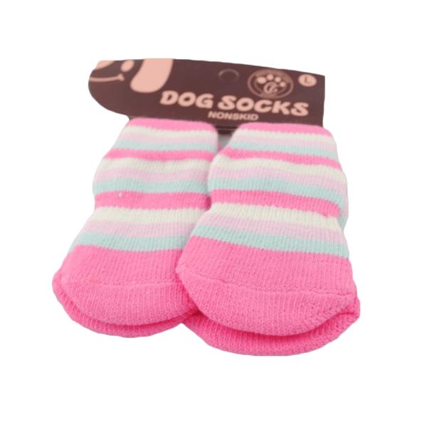 Skarpetki dla psa bawełniane różowe w paski