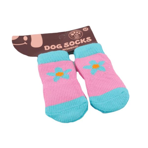 Skarpetki bawełniane dla psa różowe z kwiatkiem
