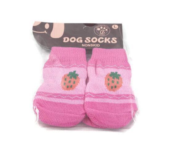 Skarpetki dla psa bawełniane różowe z truskawką