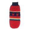 Sweter dla psa lub kota czerwony z granatowym paskiem z czerwonymi łapkami