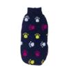 Sweter dla psa lub kota granatowy w żółte łapki różowe łapki i białe łapki