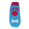 Sweter dla psa lub kota niebieski z dużą czerwoną łapą i białą kością