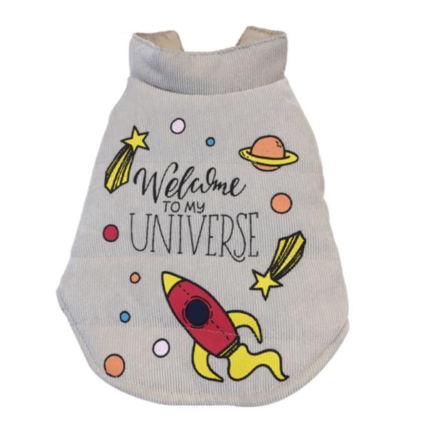 sztruksowa kurtka na napy dla psa beżowa wzór welcome to my universe rakieta miniatura