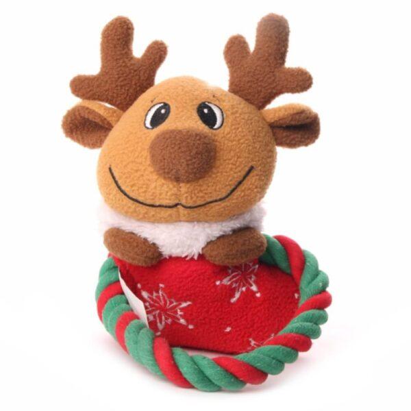 Świąteczna zabawka dla psa piszcząca ze sznurkiem renifer