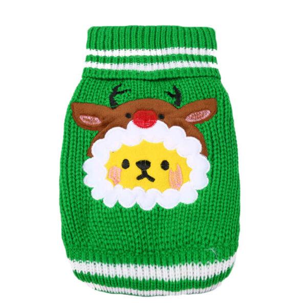 Świąteczny sweterek z barankiem reniferem zielony tył