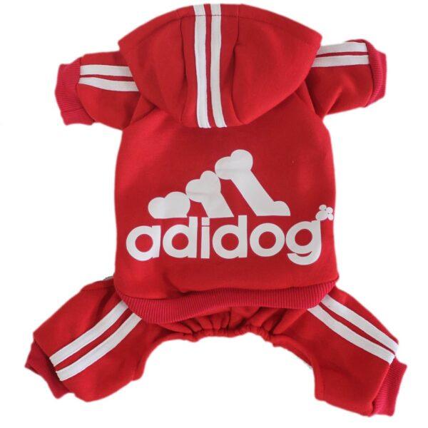 Kombinezon dresowy czerwony adidog dla psa grzbiet