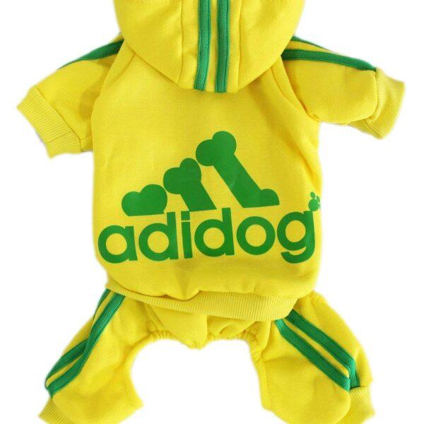 Kombinezon dresowy dla psa żółty Adidog grzbiet