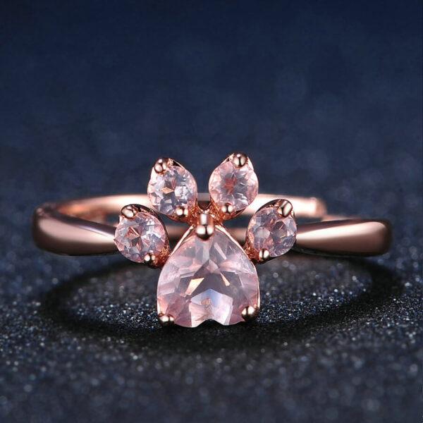 Srebrny pierścień próby 925 z łapką psa kota 18k różowe złoto