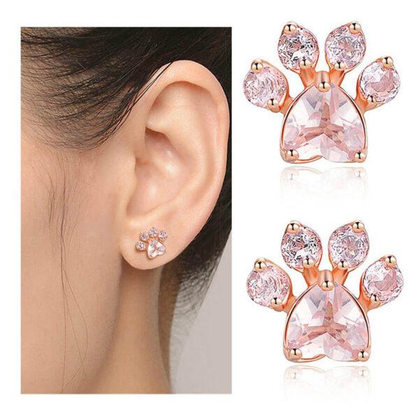 Srebrne kolczyki pokryte 18k różowym złotem z łapką psa kota na uchu