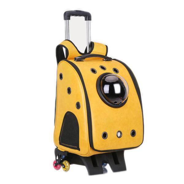 Plecak astronauta transporter dla psa i kota na kółkach kolor żółty