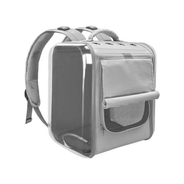 Szary kosmiczny plecak dla psa lub kota z roleta SPUTNIK