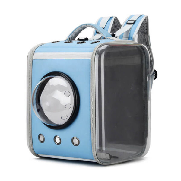 Blekitny kosmiczny plecak z kapsułą dla psa lub kota przodem