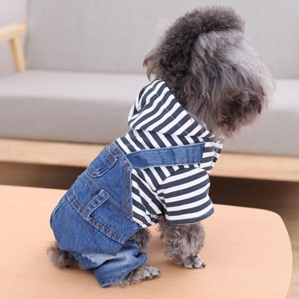 Jeansowe ogrodniczki dla psa LORENZO na psie bokiem