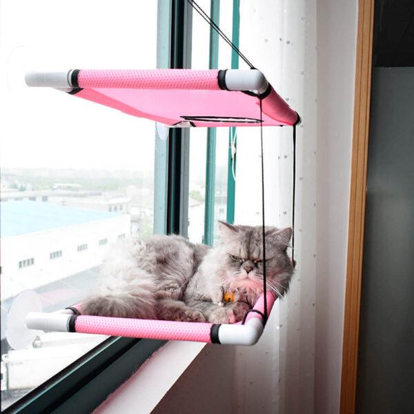 Dwupiętrowy hamak dla kota ENZO z leżącym kotkiem